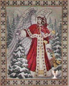 Web page devoted to the work of artist Teresa Wentzler, who creates fantasy-inspired counted cross stitch designs, and intricate pen and ink drawings. Cross Stitch Angels, Cross Stitch Charts, Cross Stitch Designs, Cross Stitch Patterns, Religious Cross, Christmas Cross, Fun Crafts, Christmas Stockings, Bohemian Rug