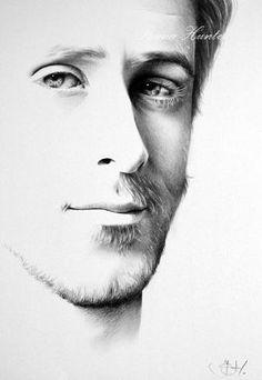 Ryan Gosling Original Fine Art Pencil Drawing Portrait by Ileana Hunter by dale