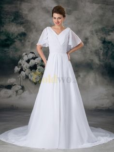 V Neck Chiffon Wedding Dress with Pearl and Butterfly Sleeves - US$285.50 - Goldwo.com