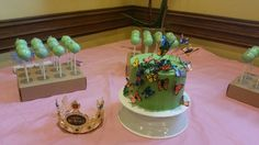 Butterfly cake and cake pops.