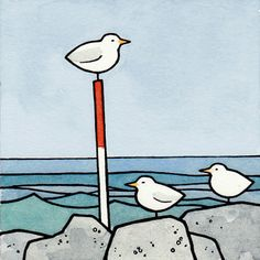 New favourite artist! :)  Seagulls 3x3 Watercolor Illustration Print by studiotuesday, $6.00