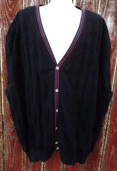 Vintage Grand Slam Cardigan Sweater Vest Button front 100% Cotton sz 7x Big Mens #GrandSlam