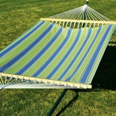 Pin it! :) Follow us :))  zPatioFurniture.com is your Patio Furniture Gallery ;) CLICK IMAGE TWICE for Pricing and Info :) SEE A LARGER SELECTION of  patio hammocks at http://zpatiofurniture.com/category/patio-furniture-categories/hammocks/ - home, patio, home decor, hammocks -  80″ x 52″ Summer Blue, Lime Green and White Striped Fabric Double Hammock « zPatioFurniture.com