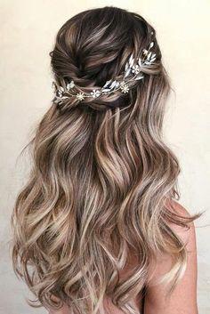 Bridal Hair Vine, Wedding Hair And Makeup, Beach Wedding Hair, Blue Wedding, Boho Wedding Hair Half Up, Diy Bridal Hair, Blue Bridal, Romantic Bridal Hair, Wedding Curls