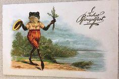 Frog Illustration, Frog And Toad, Vintage Illustrations, Mail Art, Amphibians, Vintage Cards, Frogs, Stationary, Friends