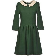 Ganni Short Dress (655 ARS) ❤ liked on Polyvore featuring dresses, green, green jersey dress, zip dress, stretch dress, 3/4 sleeve dress and mini dress