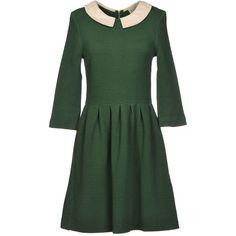 Ganni Short Dress (655 ARS) ❤ liked on Polyvore featuring dresses, green, green jersey dress, zip dress, stretch dress, 3/4 sleeve dress and mini dress