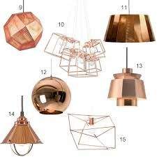 polished copper pendant light in black kitchen - Google Search