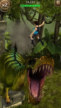 Jumping over gaping T-Rex maws. Typical Lara.