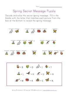 5 Best Images of Spring Puzzles Printable Worksheets - Spring Crossword Puzzle Worksheet, Kids Cryptogram Puzzle Worksheet and Printable Spring Word Search Puzzles Visual Motor Activities, Spring Activities, Therapy Activities, Activities For Kids, English Activities, Alphabet Activities, Writing Activities, Word Puzzles For Kids, Puzzles Für Kinder