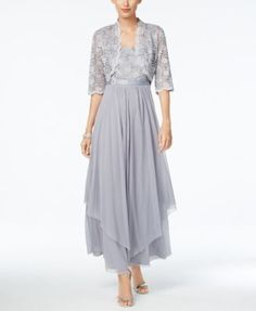R&M Richards Sequined Lace Belted Gown and Jacket   macys.com