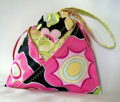 Pink Purse Drawstring Bag Abstract Floral by ColleensDesigns @ColleensDesignsBags.com $20.00