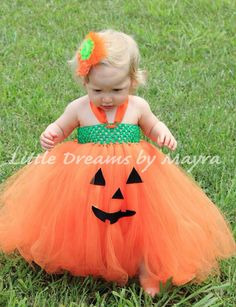 pumpkin tutu dress and matching flower clip by littledreamsbymayra - Halloween Tutu Dress