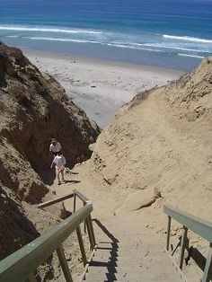 Blacks Beach/Stairs in Lajolla CA....Char and I hiked this last August during my visit! Beautiful beach but what a hike!