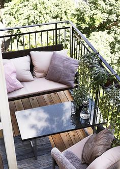 The Great Outdoors, Small Space Style: 10 Beautiful, Tiny Balconies.  This little balcony from Marie Claire Maison takes a completely different approach, prioritizing furniture over plantings. A small loveseat, table and chair turn this tiny balcony into an inviting spot for outdoor gatherings.
