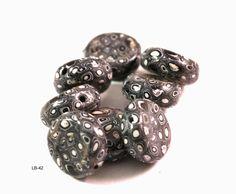 Black and White Beads, Handmade Polymer Clay Beads, Polymer Clay Beads for Sale, Jewelry Making Supplies