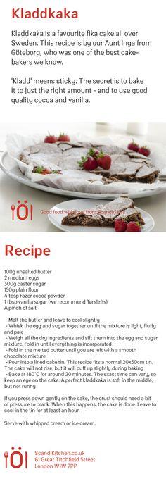 Our recipe for Kladdkaka sticky Swedish chocolate cake.   www.scandikitchen.co.uk