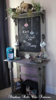Miscellaneous | Southern Belle Chic Interiors DIY Coffee Bar, Annie Sloan Chalk Paint, Repurposed Door    This is a simple easy DIY that anyone can tackle. It is a great weekend project and it can be used for many things other than a coffee station.