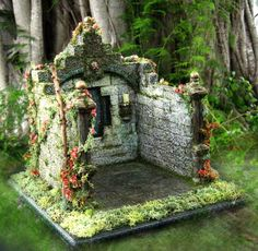 Fairy Tale Miniature Medieval Open Roombox for Miniature Display, Vignette or Diorama Set in Half Scale. $150.00, via Etsy.