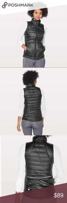 NWT Lululemon Down for a Run Vest II-Size 6 Brand new with tag! This gorgeous vest is very slimming and flattering. It is made with 800 fill goose down so it is sure to keep you warm! It even has media pockets for your headphones! Great investment piece! lululemon athletica Jackets & Coats Vests