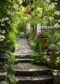 Stone steps and a rose arch, leading to a pathway lined with box pyramids, Hostas and Impatiens