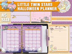 Halloween Planner Little Twin Stars A5 size  This planner includes all you need to help keep your preparations for Halloween organized and fun.  Size: cm 14,8 x 21 cm - perfect for filofax a5, kikki k large, carpe diem, and any other a5 size planner  The listing includes 4 PDF to print on a A4 or letter size paper  - A dashboard - Monthly view on 2 pages - A weekly view on 2 pages - Halloween party planner - Recipes pages - Halloween shopping pages - Simple ruled pages for any use that you…