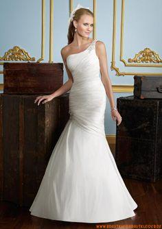 Günstige einschulter Brautkleider aus Satin im Meerjungfrauenstil 2013