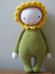 SUNFLOWER DOLL PATTERN   PDF Version     Materials used:   2 balls of Patons Angora Bamboo yarn  (50 g) in Laurel Leaf (green)   partia...