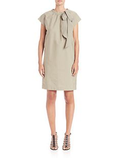 Brunello Cucinelli - Bow-Embellished Cotton Dress
