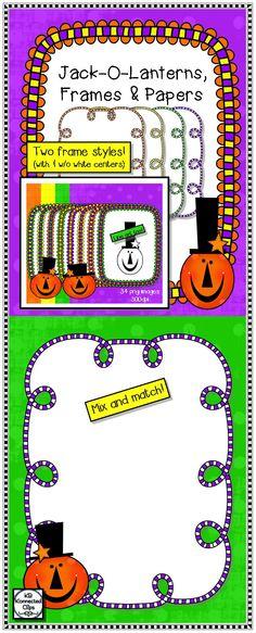 Jack-o-Lanterns, Frames and Papers - Halloween Clip Art $ https://www.teacherspayteachers.com/Product/Jack-o-Lanterns-Frames-and-Papers-Halloween-Clip-Art-1906548