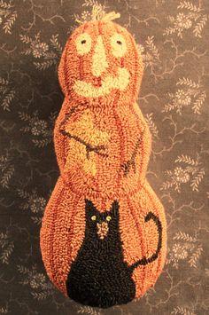 Primitive Needle Punch Pillow Pumpkin Black Cat And A Star