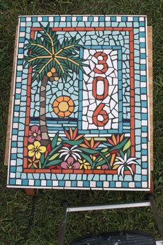 Mosaic Art, Mosaic House Number Art Plaque, Mosaic Palm Trees, Tropical Mosaic Art, Mosaic Mirrors, Custom Mosaic Janet DIneen Artworks by HappyHomeDesignArt on Etsy