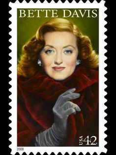 10 Actresses on Postage Stamps - Bette Davis - 2008 USA postage stamp.  Note that the cigarette she's holding in the original photo has been airbrushed out for the stamp!