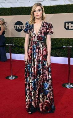 Brie Larson from Standout Style Moments at SAG Awards 2018  The Gucci dress was unconventional for the red carpet but definitely a memorable moment.