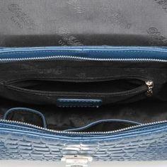 Dwukolorowa torba na ramię z krokodyla w kolorze czekoladowo-niebieskim