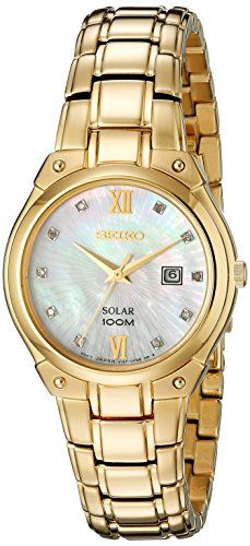 #beauty #fashion #Seiko SUT216 Solar Core women's diamond watch features a 30mm wide and 7mm thick yellow gold plated solid stainless steel case with fixed bezel...
