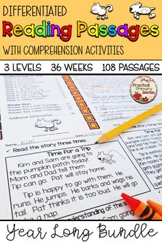Do you need differentiated reading passages with comprehension questions for your students? It includes 108 leveled reading passages WITH comprehension activities that become more complex throughout the WEEKS of fiction reading pa. Reading Resources, Reading Activities, Teaching Reading, Classroom Resources, Classroom Ideas, Comprehension Activities, Comprehension Questions, Reading Comprehension, Reading Centers
