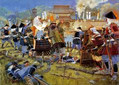 The first full day of siege of Nagashino Castle in 1575 during the  Battle of Nagashino by Howard Gerrard