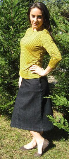 c57a38908c354 A-line Mid Calf Denim Skirt  3522  - DCM Apparel - Modern Modest