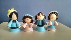 Miniature quilled paper art dolls (4 in a set) - Beautiful dolls in shades of baby pink and blue by FineQuilling on Etsy
