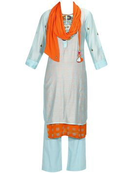 Sky blue embroidered kurta set with orange and grey printed inner and scarf available only at Pernia's Pop Up Shop.