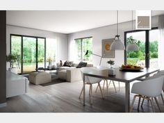 Wohnzimmer mit Blick ins Grüne und skandinavischem Flair. Ich bin dann mal weg... Gefunden im #Einfamilienhaus Futura Bauhaus auf haus-xxl.de