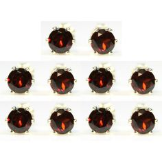 Bridesmaid set of 5 pairs of earrings! Real Red Garnet #gemstones hand set in 925 Sterling Silver #jewelry in gift pouches only $96.99 on sale on #etsy Will you be my bridesmaid gift bridesmaid proposal present Made in the USA