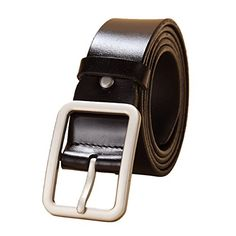 19a1ea8adbf E-Clover Leisure Leather Rectangle Silver Buckle Jean Belts for Women  Buckle Jeans
