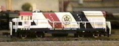 Bachmann N Scale Seaboard Coast Line Bicentennial  GE U36B. This locomotive was also available in HO scale. Sets were offered with Bicentennial themed cars and caboose.