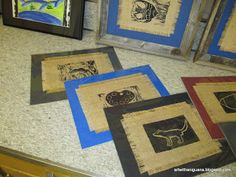 Printmaking on burlap