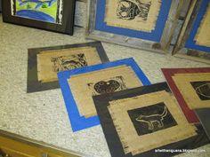 Printmaking on burlap