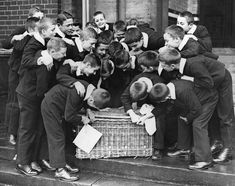 A Christmas hamper being opened by enthusiastic orphan boys from the Foundling Hospital at Redhill in Surrey, 1932.
