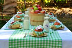green gingham table
