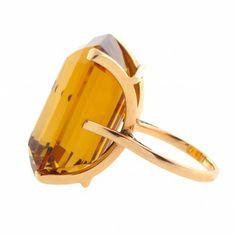 Emerald-Cut Citrine 14k Gold 1950s Vintage Cocktail Ring   Cleo Walker